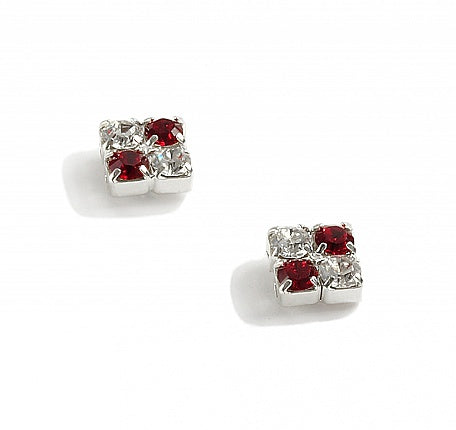 Ruby & Crystal Square Earrings - Swarovski Crystal