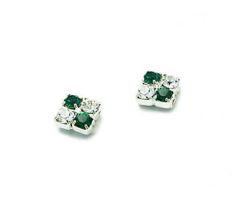 Emerald & Crystal Square Earrings - Swarovski Crystal
