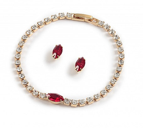 Crystal & Ruby Navette Bracelet Set