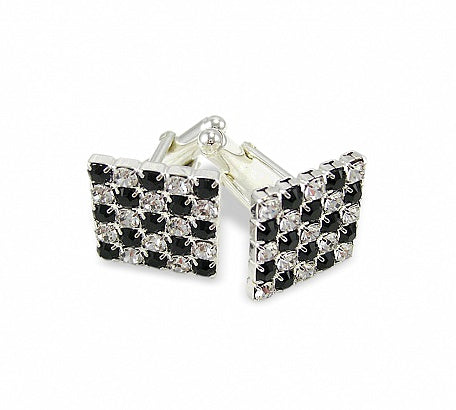 Square Crystal & Jet Cufflinks (choice of colour available)