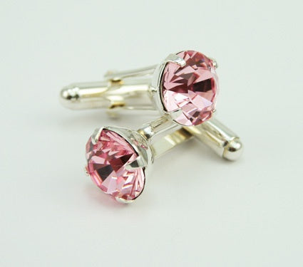Light Rose Round Crystal Cufflinks
