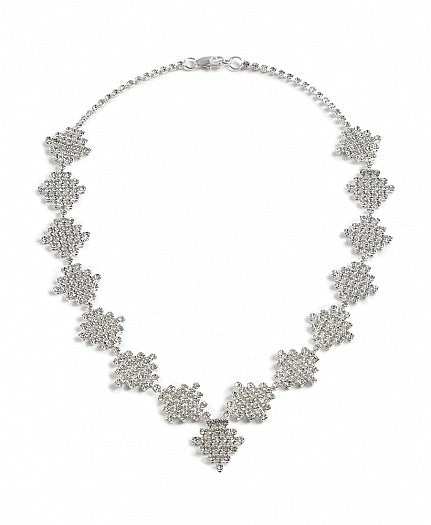 Diamante Square Drop Necklace - Swarovski Crystal
