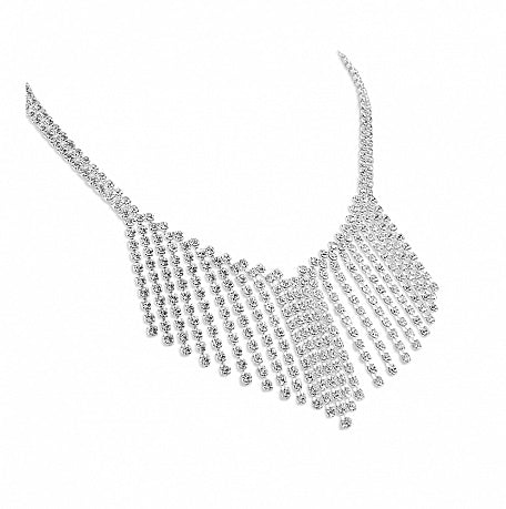 Stunning V Shaped Waterfall Necklace - Swarovski Crystal