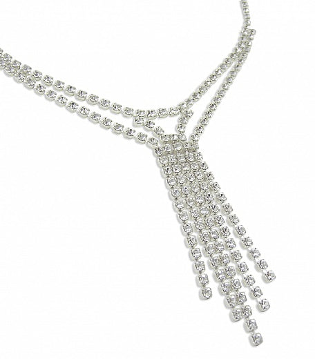 Elegant Diamante Drop Necklace - In Swarovski Crystal