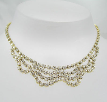 Diamante Fancy Loop Necklace - In Swarovski Crystal