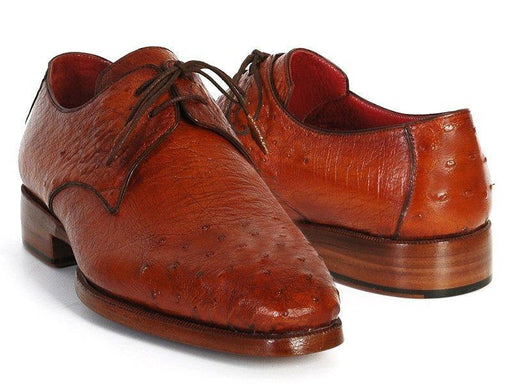 Men's Tobacco Color Genuine Ostrich Leather Upper Derby Shoes