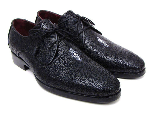 Full Genuine Black Stingray Goodyear Welted Derby Shoes For Men