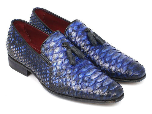 Men's Blue Genuine Python Tassel Loafers