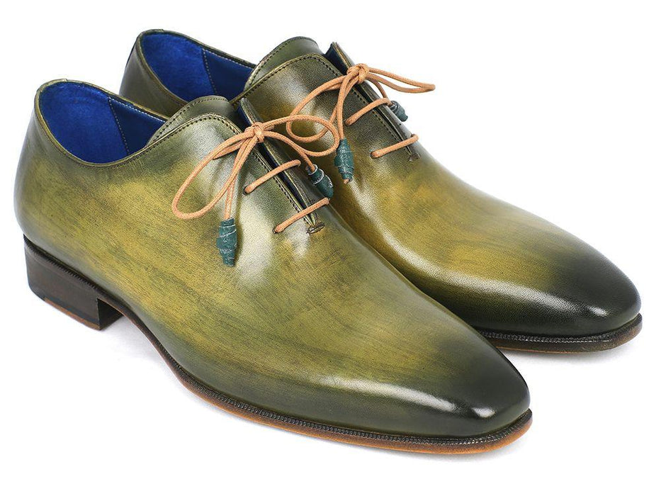 Plain Toe Whole cut Oxfords Green Hand-Painted Leather