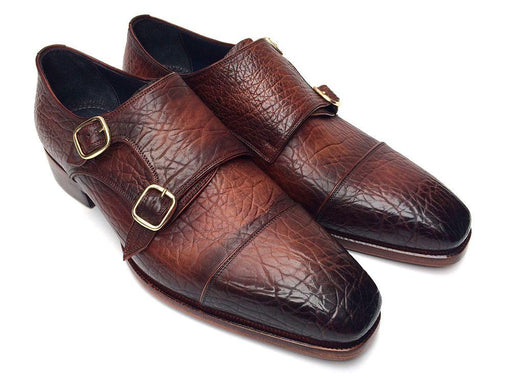 Men's Double Monkstraps Brown Leather Upper & Leather Sole