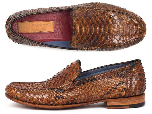 Men's Genuine Python Moccasins Brown & Tobacco
