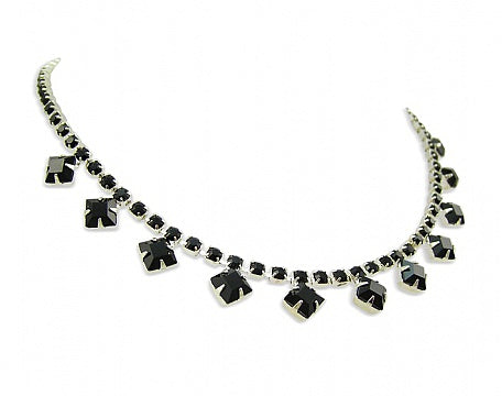Square Cut Jet Crystal Necklace - Swarovski Crystal