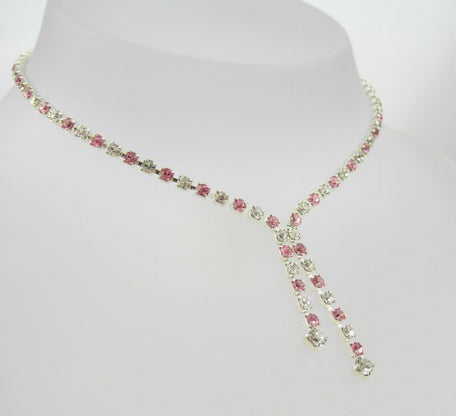 Crystal & Light Rose Drop Necklace - In Swarovski Crystal
