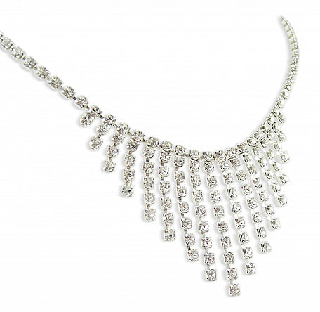 Graduated Drop Diamante Necklace - In Swarovski Crystal