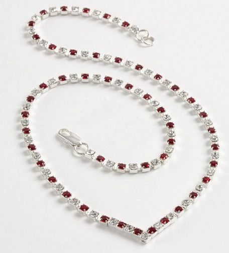 Crystal & Ruby Diamante 'V' Necklace - In Swarovski Crystal