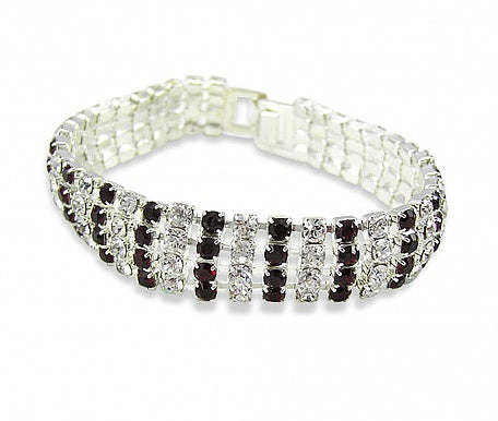 Crystal & Ruby Curved Diamante Bracelet
