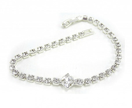 Stunning Square Single Row Bracelet - Swarovski Crystal