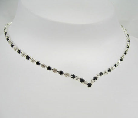 Crystal & Jet Diamante 'V' Necklace - In Swarovski Crystal