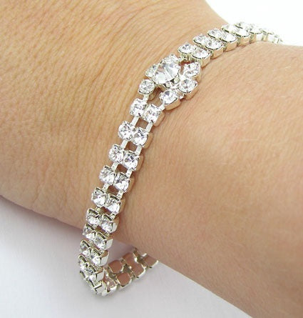 Two Row & Tiffany Bracelet - In Swarovski Crystal