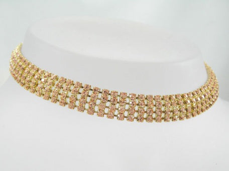 Light Peach Crystal Curved Choker - Swarovski Crystal