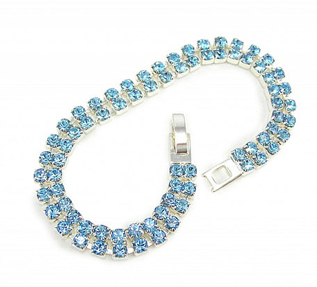 Two Row Aqua Crystal Bracelet - In Swarovski Crystal