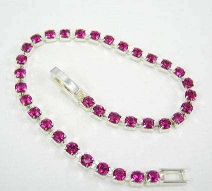 Fuschia Crystal Diamante Bracelet - In Swarovski Crystal