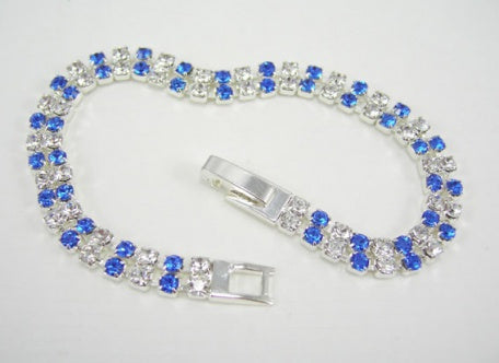 Two Row Sapphire & Crystal Bracelet - In Swarovski Crystal