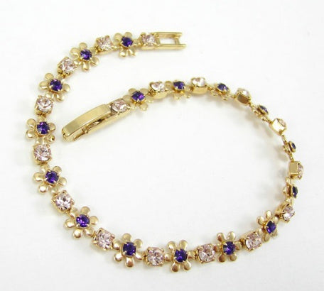 Purple Velvet & Silk Bracelet - In Swarovski Crystal