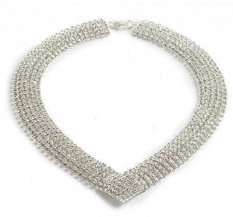 Six Strand Curved Necklace - In Swarovski Crystal