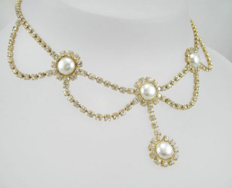 Diamante Crystal/Pearl Necklace - In Swarovski Crystal