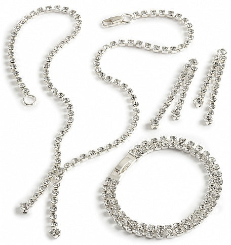 Crystal Drop Bracelet, Earring & Necklace Set