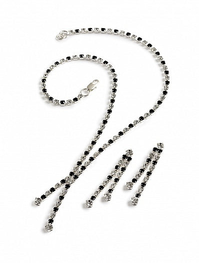 Two Strand Jet and Crystal Necklace