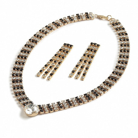 Sumptuous Jet and Crystal Necklace Set