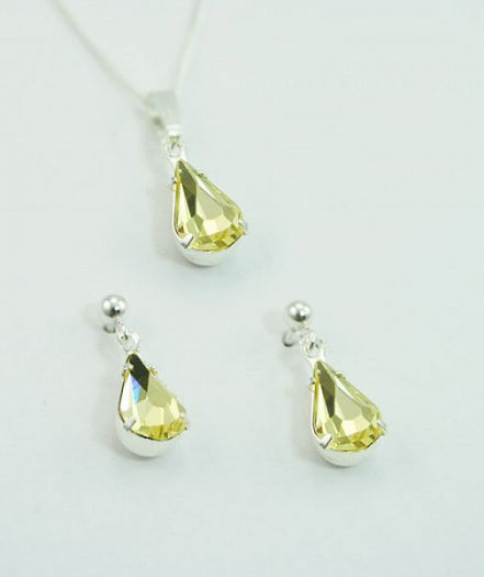 Crystal Jonquil Teardrop Set - In Swarovski Crystal