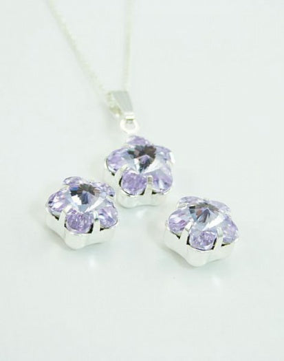 Violet Flower Earring & Pendant Set - In Swarovski Crystal