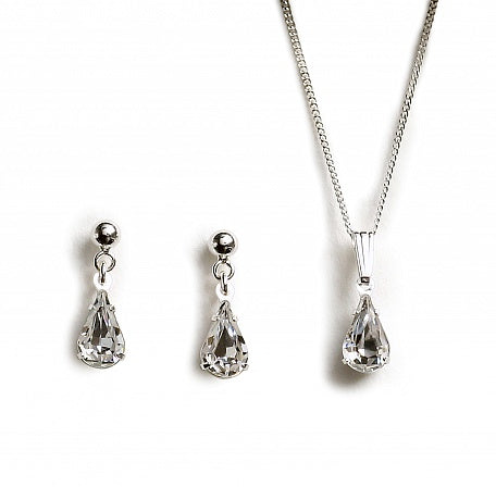 Crystal Tear Drop Wedding Jewellery Set-Swarovski Crystal