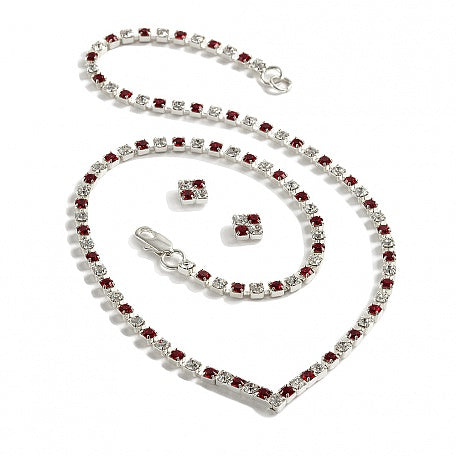 Crystal & Ruby Diamante 'V' Necklace and Earring Set