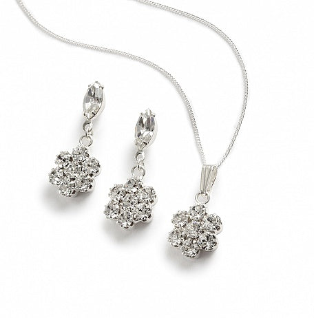 A Pretty Flower and Navette Pendant Set