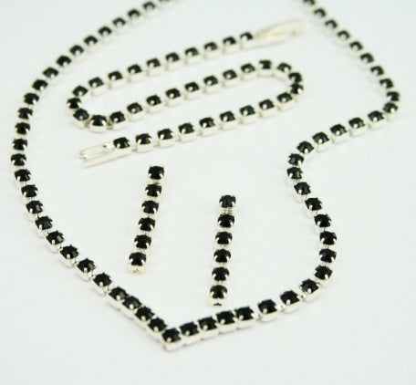 Jet Crystal 'V' Jewellery Set