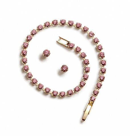 Light Rose Crystal Bracelet Set - In Swarovski Crystal