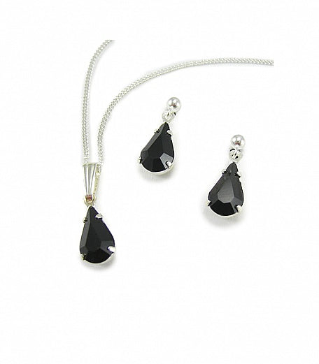 Jet Diamante Teardrop Jewellery Set