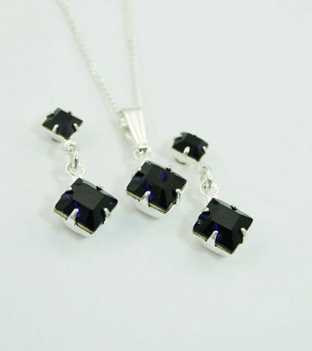 Deep Indigo Square Pendant Set - In Swarovski Crystal