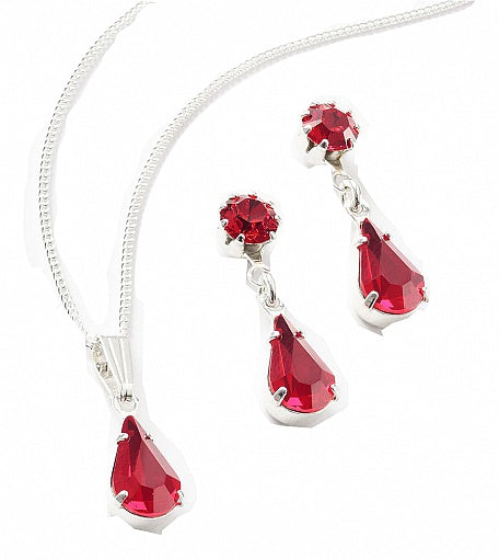Light Siam Tiffany & Teardrop Set - Swarovski Crystal