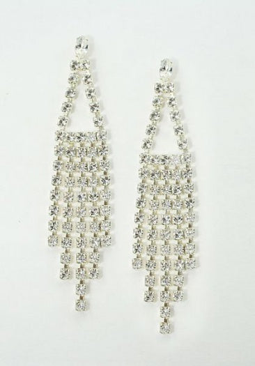 Long Diamante Navette Earrings - Swarovski Crystal
