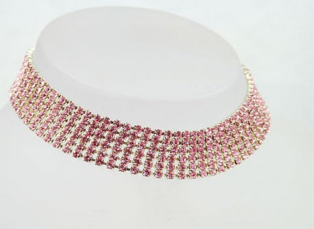 Pink Six Row Diamante Choker - Swarovski Crystal