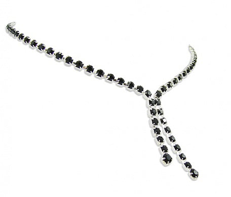 Jet Two Strand Drop Necklace - Swarovski Crystal