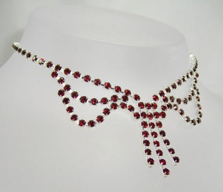 Ruby Crystal Loop Necklace - In Swarovski Crystal