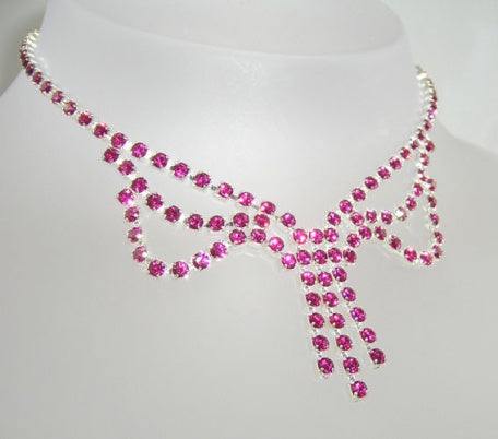 Fuschia Pink Crystal Loop Necklace - Swarovski Crystal