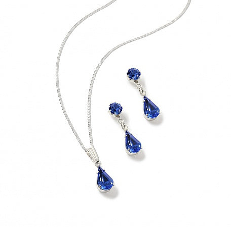 Sapphire Teardrop Set Earring and Pendant Set