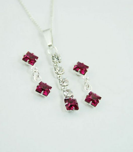Fushia Square Drop Pendant Set - In Swarovski Crystal